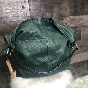 NWT Linea Pelle Green Hunter Hobo Tote Bag